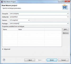 Eclipse new Maven Project Properties